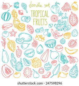 Set of various doodles, hand drawn rough simple sketches of different kinds of tropical fruits. Vector freehand illustration isolated on white background.