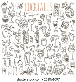 Set of various doodles, hand drawn rough simple sketches of various kinds of cocktails and soft drinks. Vector freehand illustration isolated on white background.