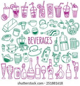 Set of various doodles, hand drawn rough simple sketches of various types of alcoholic and non-alcoholic drinks. Vector freehand illustration isolated on white background.