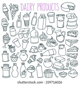 Set of various doodles, hand drawn rough simple sketches of different kinds of diary products. Vector freehand illustration isolated on white background.