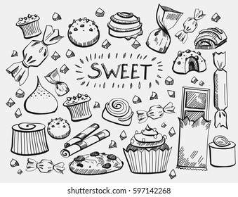 Set of various doodles, hand drawn rough simple sketches of different kinds of cocoa and chocolate production. Vector freehand illustration isolated on background.