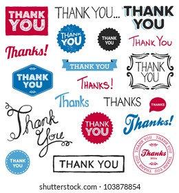 Set of various drawn and rendered Thank You graphics