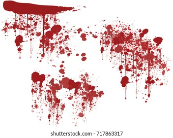 Set of various dripping blood splashes,collection of dripping drops and trail blood paint splatters on white background, Halloween vector concept