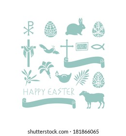 Set of various Easter symbols and objects