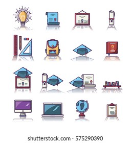 Set of various educational vector icons on white background