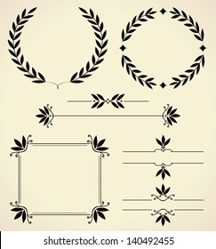 Set of various elements for design and page decoration. Vector illustration.