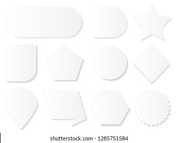 Set of various empty geometric figures og white color