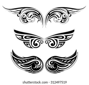 Set of various ethnic styles wings tattoo