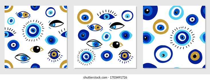 Set of various evil eyes, different talismans in hand drawn flat design, contemporary modern trendy style, vector illustration