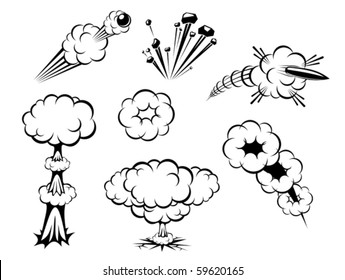 Set of various explosions isolated on white or logo template. Jpeg version also available in gallery