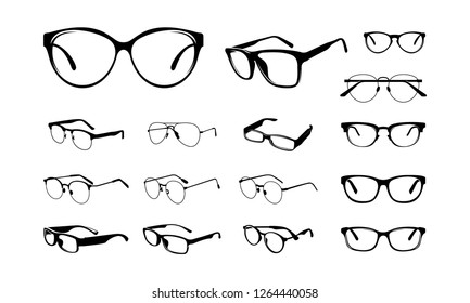 set of Various Eye Glasses Frame Silhouette vector illustration - Vector