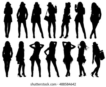 Set of various fashion woman silhouettes. Easy editable layered vector illustration.
