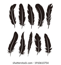 Set of Various Feather Illustration Design, Black Feather Silhouette Template Vector