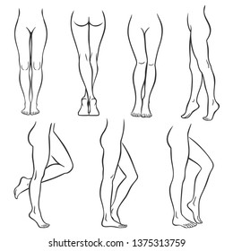 Set of various female legs. Hand drawn outline woman foot in different poses. Black and white vector illustration Slim, long, and elegant woman legs in different poses.