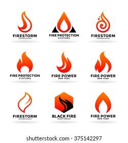 Set of various fire symbols and logo design elements (3)