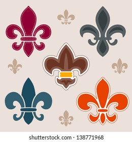 Set of various fleur de lis symbols and graphics