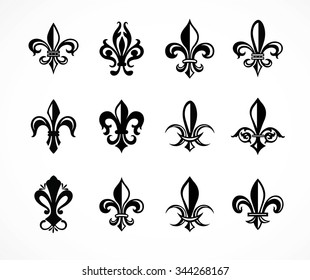 Set of various fleur de lis symbols and graphics