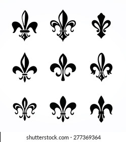 Set of various fleur de symbols and graphics
