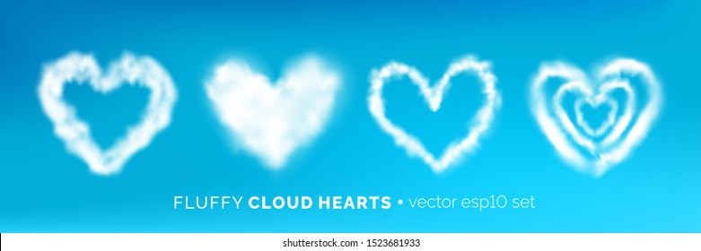 Set of various fluffy cloud heart frames isolated on blue sky. Romantic white half transparent heart shaped  clouds. Vector illustration for your graphic design.