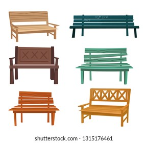 Set of various garden and city benches and chairs.Wooden and wicker benches, elements for landscape locations.