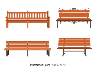 Set of various garden and city benches. Wooden and wicker benches, elements for landscape locations. Vector illustration in flat style