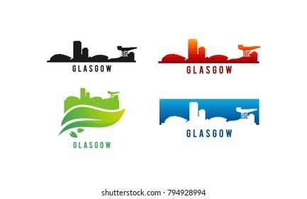 Set of Various Glasgow city Skyline silhouette vector illustration