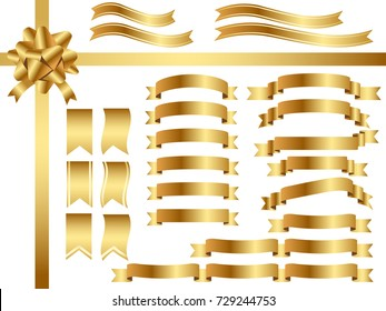 A set of various gold ribbons, vector illustration.