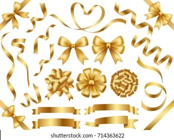 A set of various gold vector ribbons.