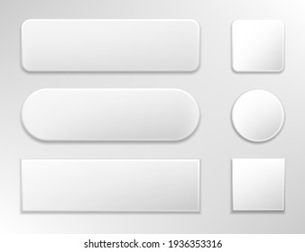Set of various gray glossy web buttons.Vector illustration isolated on white background.Eps 10.