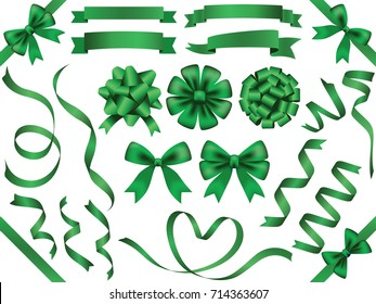 A set of various green vector ribbons.