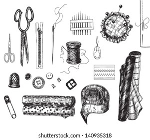 Set of various hand - drawn sewing related objects