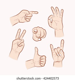 Set of various hand gestures, hand drawn outline illustration. Vector