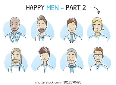 Set of various happy, smiling men in business and casual clothes, mixed age and ethnic groups in positive emotions. Hand drawn cartoon sketch vector illustration, whiteboard marker style coloring.