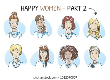 Set of various happy, smiling women in business and casual clothes, mixed age and ethnic groups in positive emotions. Hand drawn cartoon sketch vector illustration, whiteboard marker style coloring.