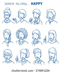 Set of various happy women in business and casual clothes, mixed age and ethnic groups expressing positive emotions. Hand drawn line art cartoon vector illustration.