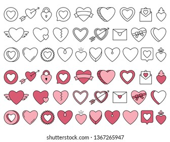 Set of various Heart Shapes