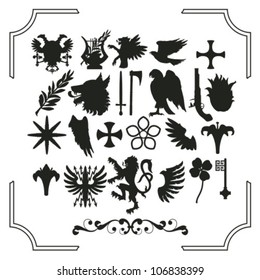 Set of various heraldic silhouettes - eagle, wolf, lire, pigeon, lion, lily etc.