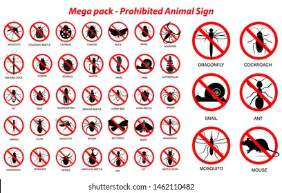 set of various insect and animals prohibited in silhouette, with insect name. easy to modify