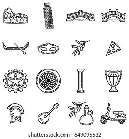 Set of various italian symbols. Flat outline vector icons.