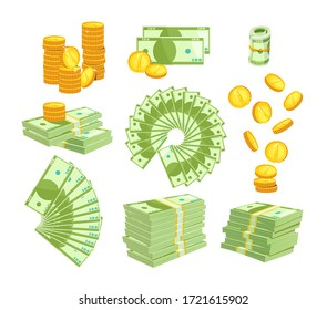Set Various Kind of Money Isolated on White Background. Packing and Piles of Dollar Banknotes, Fan of Paper Bills. Gold Coins Falling Down and Stack. Currency Objects Icons Cartoon Vector Illustration