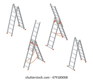 Set of various ladder, stairs. Flat 3d isometric illustration. For infographics and design