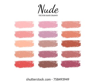 Set of various lipstick smears. Nude Color palette. Makeup swatches.