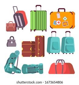 Set of various Luggage. Colorful Backpack, handbag, suitcase, briefcase, travel bag. Flat Art Vector Illustration