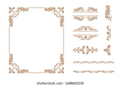 Set of various luxury vintage ornament frame and decorative classical delimiter vector flat illustration. Collection of different elegance golden divided and border shape isolated on white background