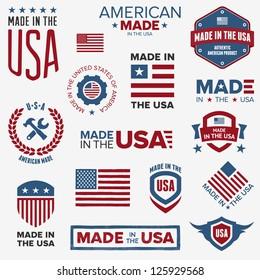 Set von verschiedenen Made-in-the-USA-Grafiken und -Etiketten