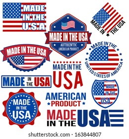 Set of various Made in the USA graphics and labels on white, vector illustration