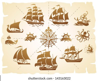 Set of various marine emblem silhouettes