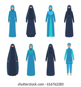 Set of various middle east women in national religious apparel. Muslim, Islamic, traditional clothing on female. Vector illustration isolated on white.