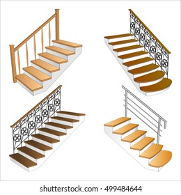 Set various modern stairs 3d isolated. Staircase side view. Vector illustration on a white background.