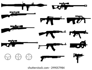 Set of Various Modern Weapons -Vector Silhouettes